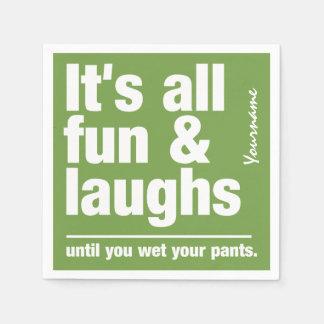 FUN & LAUGHS custom color paper napkins