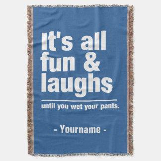 FUN & LAUGHS custom color throw blanket