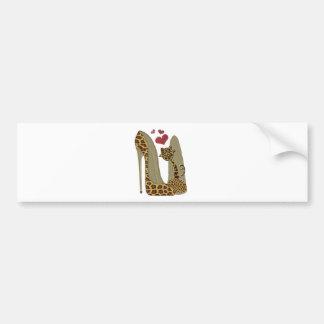 Fun Leopard Stiletto and Cat Bumper Sticker