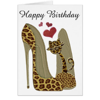 Fun Leopard Stiletto and Cat Card