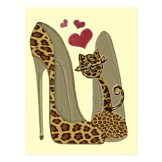Fun Leopard Stiletto and Cat Postcard