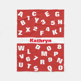 Fun Letters & Numbers Fleece Blanket
