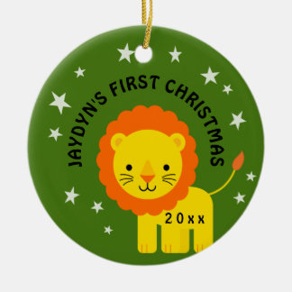 Fun Lion Stars Baby's 1st First Christmas Gift Christmas Ornament