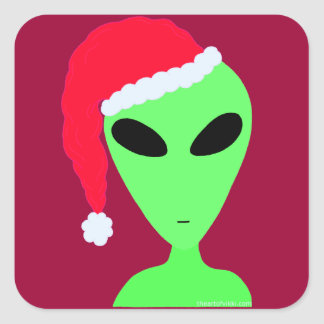 Fun Little Green Man Alien Christmas Art Decal Square Stickers