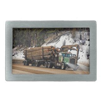 Fun Log In - Log Out Logging Trucker Art Design Rectangular Belt Buckles