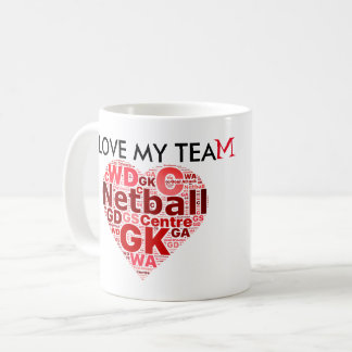 Fun Love Netball Positions Heart design Coffee Mug