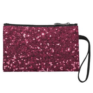 Fun Magenta Pink Faux Glitter Sparkle Print Wristlets