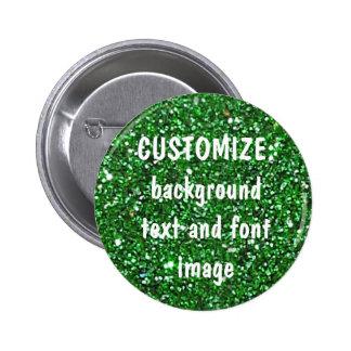 FUN! MAKE YOUR OWN GREEN GLITTER PIN! 6 CM ROUND BADGE
