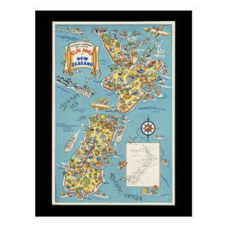 Fun map of New Zealand Postcard