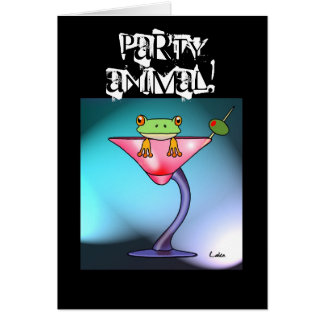Fun Martini drinking frog personalised card