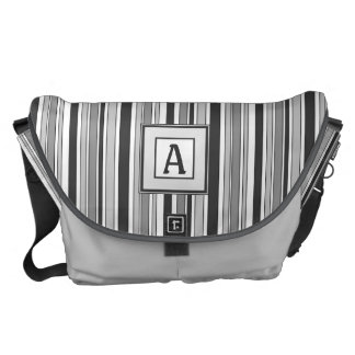 Fun Masculine Stripes Pattern in Monochrome Commuter Bag
