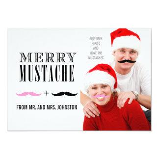 Fun Merry Christmas Mustache Photo Card Newlyweds 13 Cm X 18 Cm Invitation Card