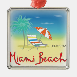 Fun Miami Beach, FL Christmas Ornament