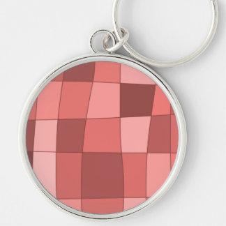 Fun Mirror Checks in Salmon Pink Silver-Colored Round Key Ring