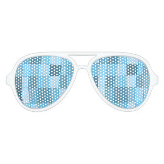 Fun Mirror Checks in Sky Blue Aviator Sunglasses