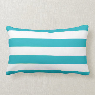 Fun Modern Aqua Blue and White Stripe Pattern Lumbar Cushion