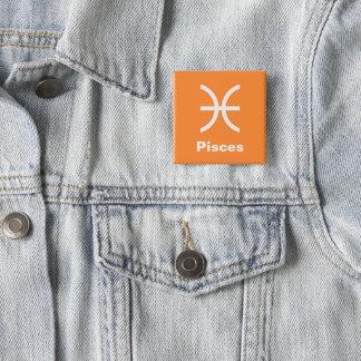 Fun Modern Astrology Pisces Star Sign on Orange 15 Cm Square Badge