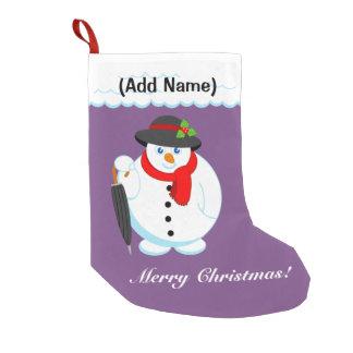 Fun modern cartoon elegant Christmas Snowman, Small Christmas Stocking