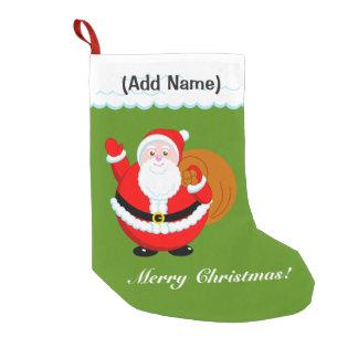 Fun modern cartoon of a jolly Santa Claus, Small Christmas Stocking