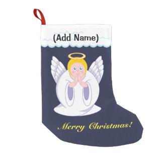 Fun modern cartoon of a praying Christmas Angel, Small Christmas Stocking