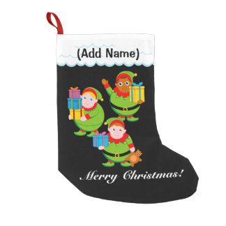 Fun modern cartoon of Santa's Christmas elves, Small Christmas Stocking