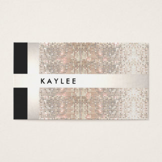 Fun Modern Faux Silver Stripes on Sequins Business Card