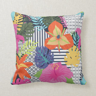 Fun & Modern Floral Graphic Throw Pillow