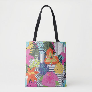 Fun & Modern Floral Graphic Tote Bag
