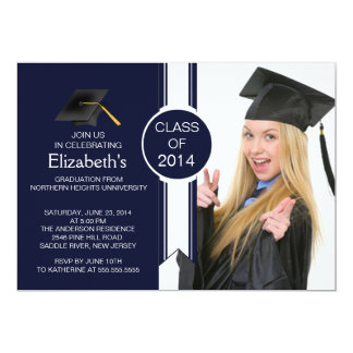 Fun Modern Graduate Photo Graduation Party Card