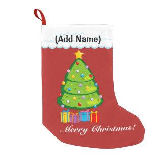 Fun modern green Christmas Tree with presents, Small Christmas Stocking