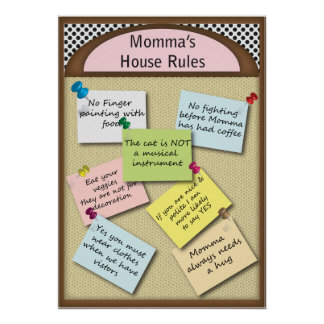Fun Momma s House Rules Poster