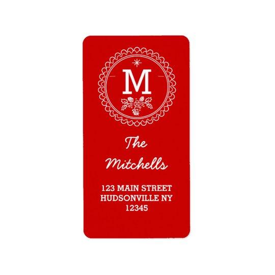 Fun Monogram Festive Red & White Holiday Label