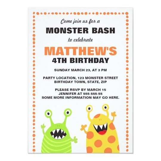 Fun monster birthday party invitation for kids