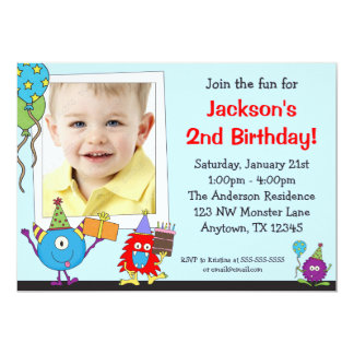 Fun Monsters Photo Birthday Party Invitations
