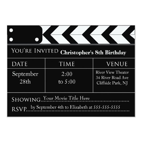 Fun Movie Night Birthday Party Invitations