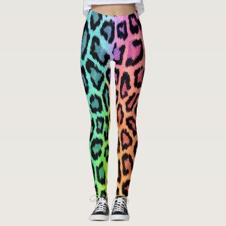 Fun Multi Colored Leopard Print Leggings