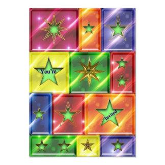 """Fun MULTI PURPOSE INVITATION - STARS/SQUARES 5"""" X 7"""" Invitation Card"""
