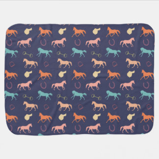 Fun Multicolor English Horse Pattern Baby Blanket