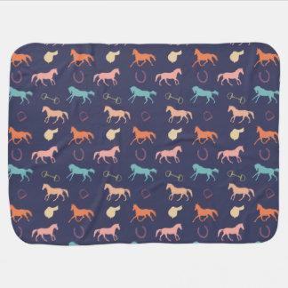 Fun Multicolor English Horse Pattern Pramblanket