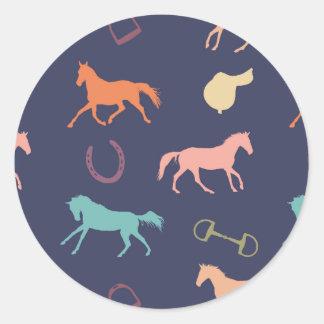 Fun Multicolor English Horse Pattern Round Sticker