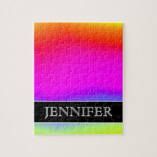 Fun Multicolored Rainbow-Like Pattern; Custom Name Puzzle