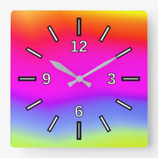 Fun Multicolored Rainbow-Like Pattern Square Clock