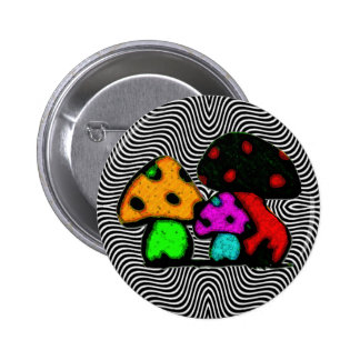 fun mushrooms 6 cm round badge