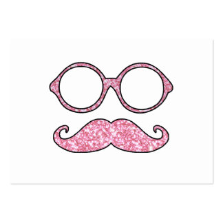 FUN MUSTACHE AND GLASSES, PRINTED PINK GLITTER PACK OF CHUBBY BUSINESS CARDS