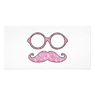 FUN MUSTACHE AND GLASSES, PRINTED PINK GLITTER PHOTO CARD TEMPLATE