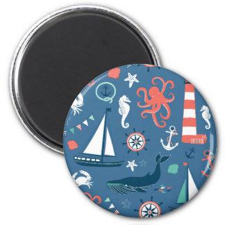 Fun Nautical Graphic Pattern 6 Cm Round Magnet
