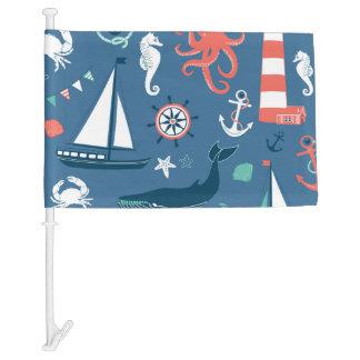 Fun Nautical Graphic Pattern Car Flag