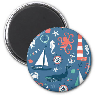 Fun Nautical Graphic Pattern Magnet