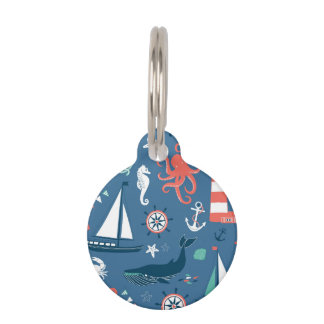 Fun Nautical Graphic Pattern Pet ID Tag