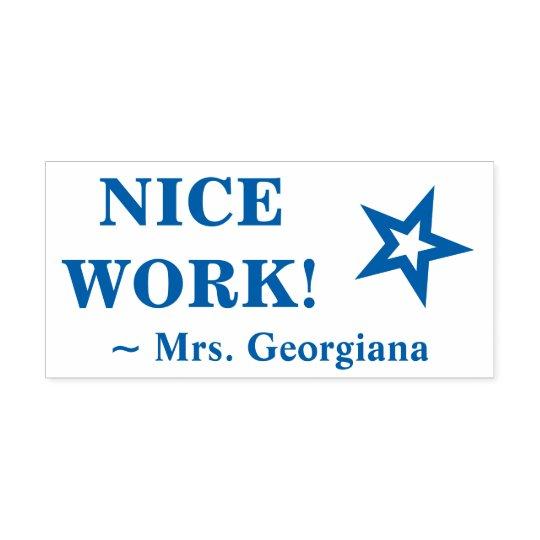 """Fun """"NICE WORK!"""" Educator Rubber Stamp"""